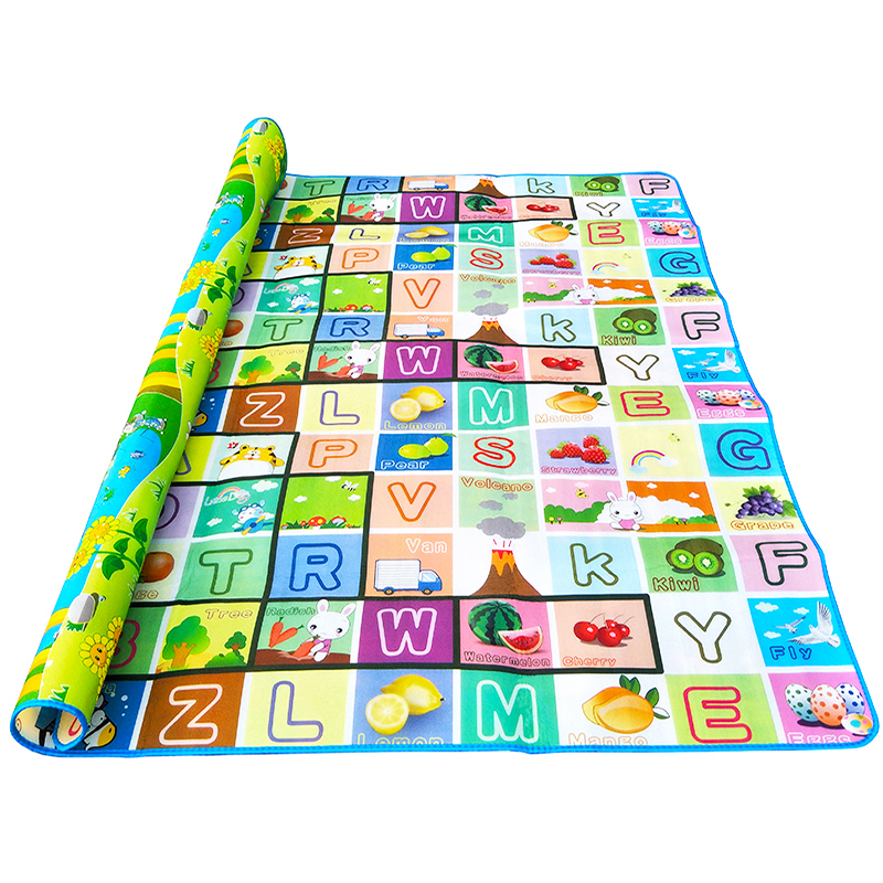 HTB1ikVJktbJ8KJjy1zjq6yqapXa0 Baby Crawling Play Mat 2*1.8 Meter Climb Pad Double-Side Fruit Letters And Happy Farm Baby Toys Playmat Kids Carpet Baby Game