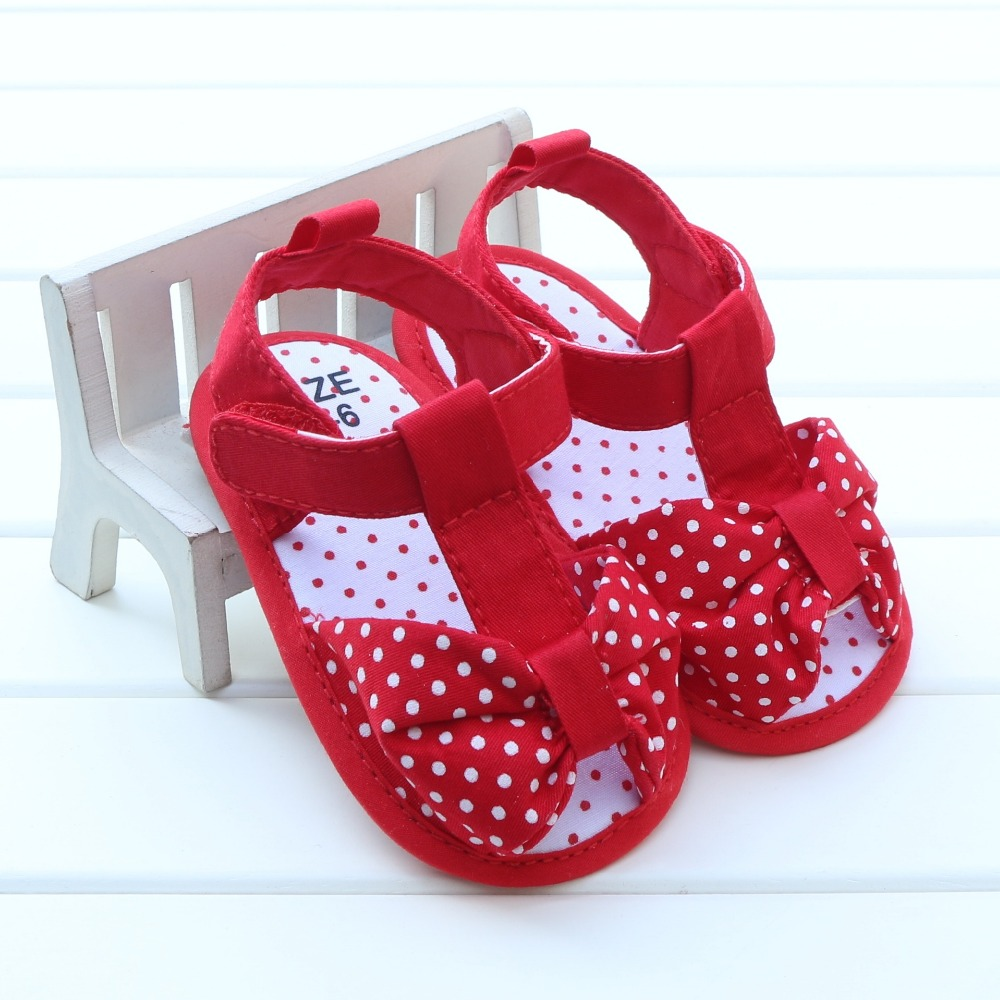 d89e6fc0e1a8 NEWEST Summer Lovely Polka Dots Bow Baby Girls Sandals Shoes Toddler Baby  Kids Prewalker Sandals sandalia infantil 0 18M-in Sandals   Clogs from  Mother ...
