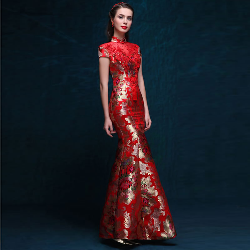 Red satin chinese dress bride wedding qipao long modern for Chinese website for wedding dresses