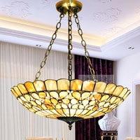 European Garden Shell Pendant Tiffany color lighting living room / bedroom / study 20inch special pearl flower lamp