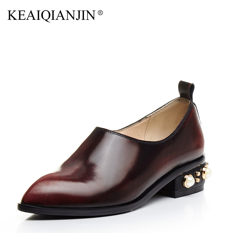 KEAIQIANJIN Woman Rivet Pointed Toe Flats Black Wine Red Spring Autumn Loafers Shoes Casual Genuine Leather Loafers Lazy Shoes women ladies flats vintage pu leather loafers pointed toe silver metal design