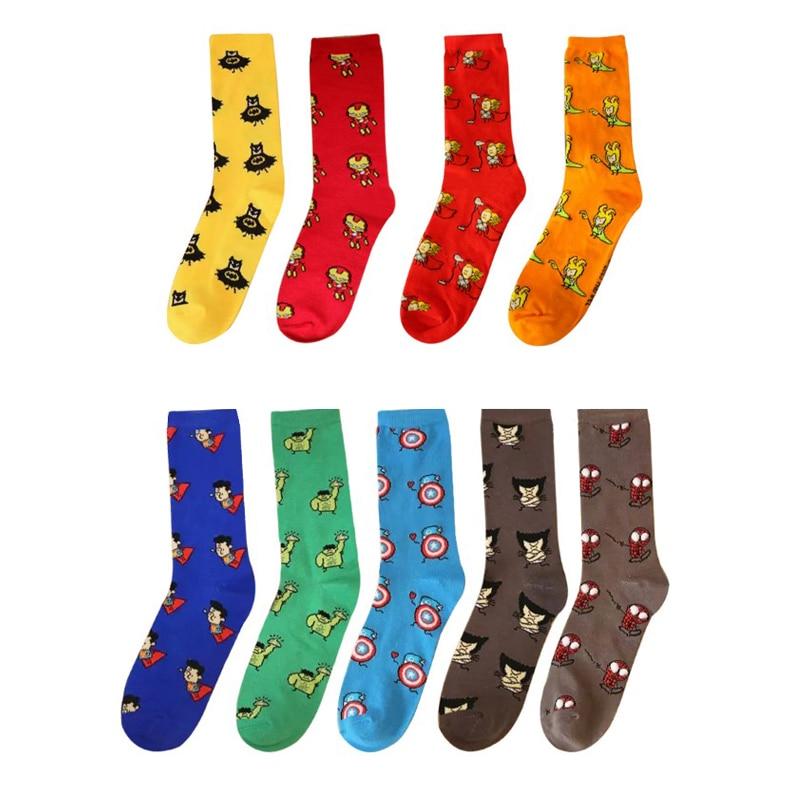 Colored Cotton Men font b Novelty b font Socks Personality Cartoon Breathable Wedding Gift Socks High