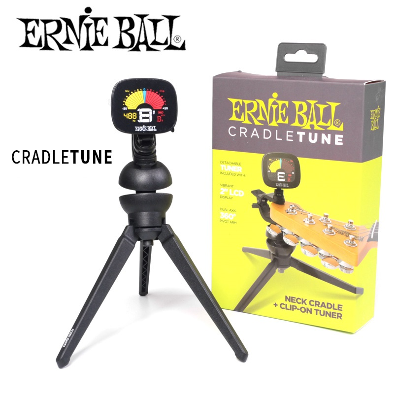 Ernie Ball 4113 CradleTune, Clip-on Tuner and Guitar Stand ernie ball ernie ball 2833