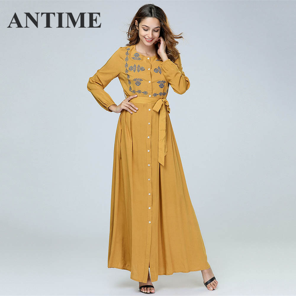 ANTIME Casual Maxi Dresses Women New Streetwear O-Neck Autumn Winter Button Sashes A-Line Long Sleeves Elegant Gold Dress 1