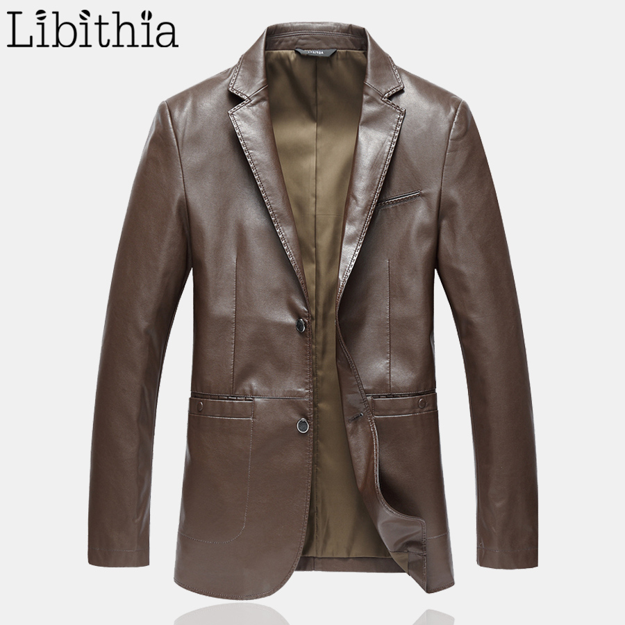Men Smart Casual PU Leather Jackets Slim Fit Luxury Coats Spring Black Dark Brown F084