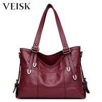 VEISK Women Big Messenger Bags Sac A Main Pu Leather Shoulder Bags Women Crossbody Bag Ladies Designer Large Handbags