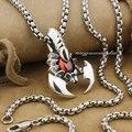 Punk Fashion Red Eye Scorpion Pendand Solid 925 Sterling Silver Cool Men's Biker Huge King Ancient Scorpion Pendant 9J004