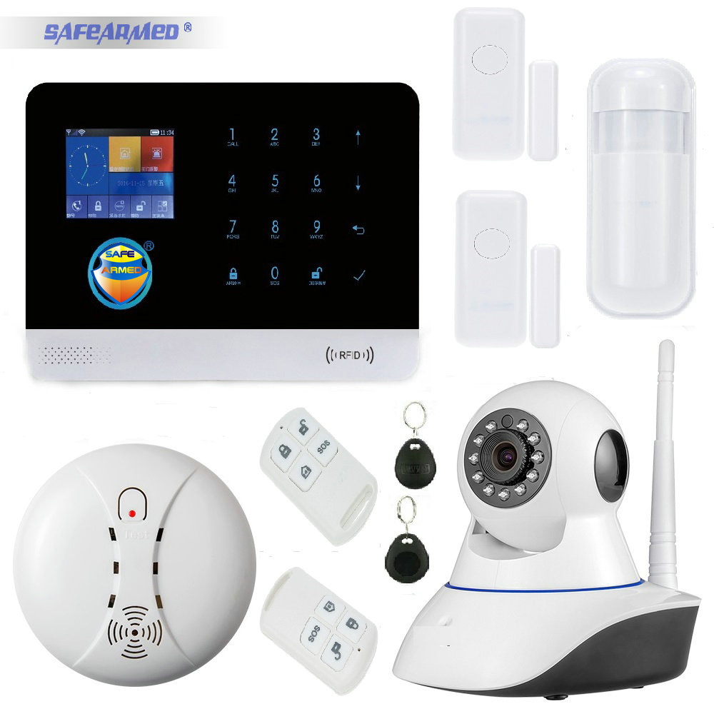 WIFI & GSM/GPRS Intranet Alarm System with App Control Sms Call with Wireless PIR & Door Sensor & Smoke Sensor & IP Video Camera wireless alarm accessories glass vibration door pir siren smoke gas water sensor for home security wifi gsm sms alarm system