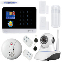 WIFI & GSM/GPRS Intranet Alarm System with App Control Sms Call with Wireless PIR & Door Sensor & Smoke Sensor & IP Video Camera