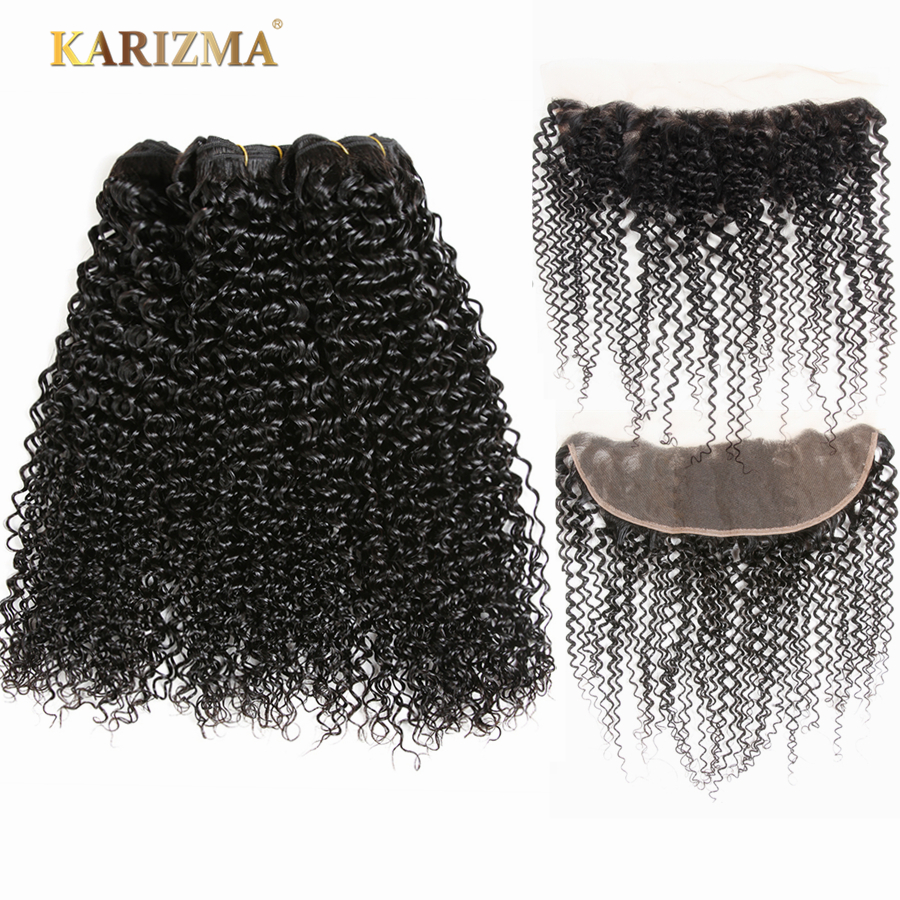 Karizma Peruvian Kinky Curly Wave 100 Human Hair Bundles With Frontal 13x4 Non Remy Hair Weaves