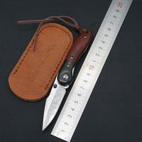 Double color sandalwood handle collection folding knife outdoor self defense high hardness Damascus steel mini folding knife