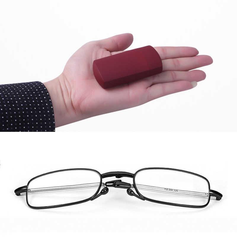 Portátil gafas de lectura plegables rotación gafas caso bolsillo de moda de presbicia Vintage Frmae + 1,0, 1,5, 2,0, 2,5, 3,0, 3,5, 4,0