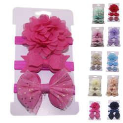 3 предмета для девочек повязка на голову наборы для волос повязка на голову для ребенка цветок дети волосы однотонные ленты Детские