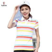 2017 Women Short Sleeve Polo Shirt Original Summer New Fashion Plus Size Lapel Slim Stripe Women Polo Shirts Soft Cotton YY693