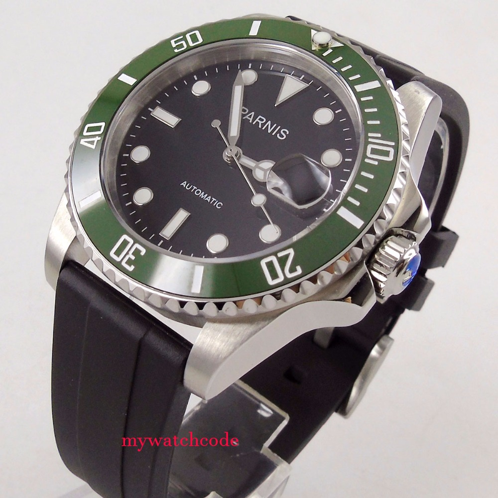 40mm PARNIS black dial Miyota automatic mens watch rubber strap ceramic bezel цена и фото