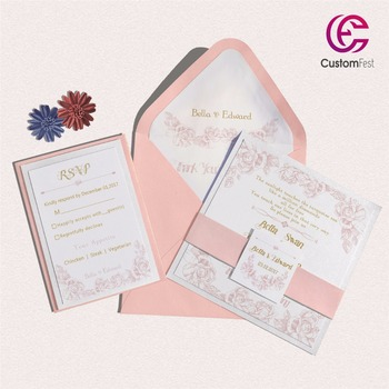 30pcs/lot  Pink floral design with personalized liner envelop pink and gold  invitation and RSVP  set  L202S031