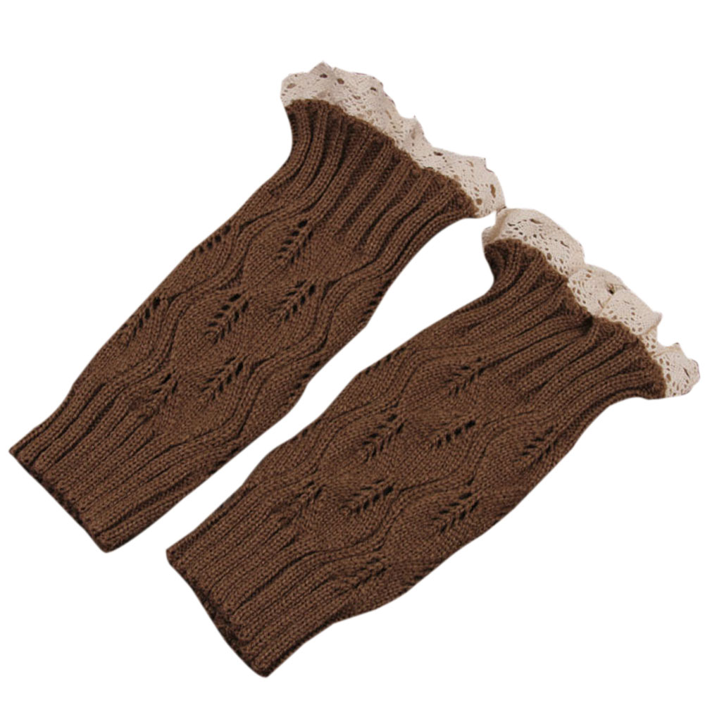 New Fashion Lady Design Warm leggings for winter Hollow Lace Wool Boot Cover Set Women Long Leg Warmers For boots girls LB