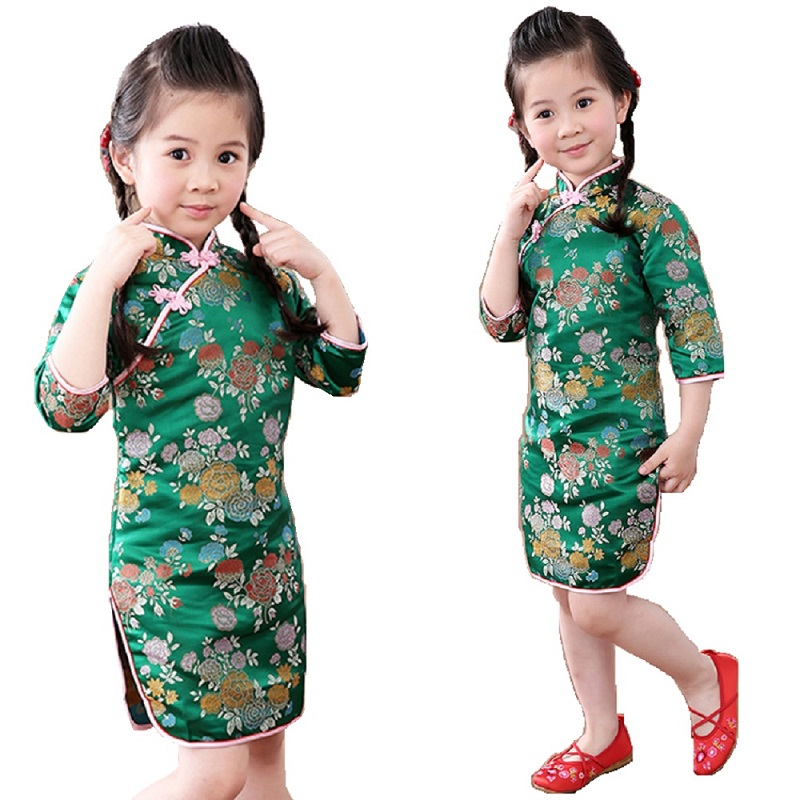 Lily Green Baby Girl Qipao Dresses Fashion 2018 Chinese