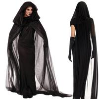 Woman Witch Cosplay Long Dress Costume 2017 Halloween Clothes Women Adult Party Halloween Black Witch Cosplay Costume
