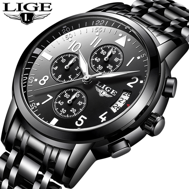 849a7b488f2 relogio masculino LIGE Mens Watches Top Brand Luxury Fashion Business  Quartz Watch Men Sport Full Steel