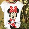 2015 mujeres de la Manera camiseta delgada de Manga Corta mujeres camisetas de Algodón de moda Ratón de la Historieta Del O-cuello tops
