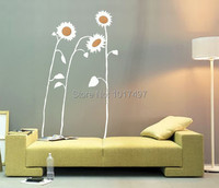 Creative Sunflowers Wall Art Sunflowers Vinyl Wall Decal Stickers Home Decoration Large Size Height 200cm Free
