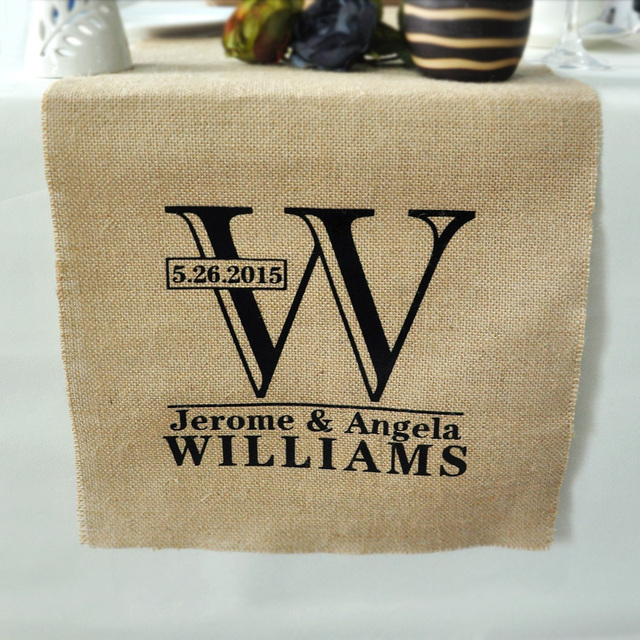 Personalized Table Runner Rustic Wedding Decor Burlap Custom Linens Gift