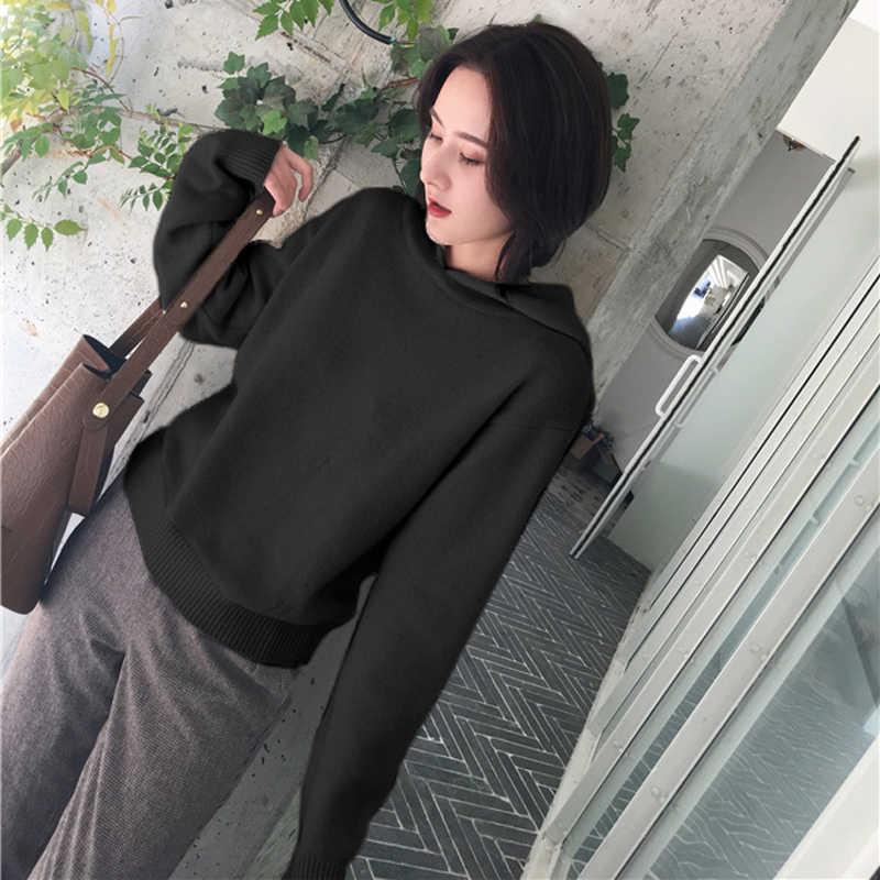 가을 겨울 여성 후드 스웨터 니트 풀오버 여성 캐주얼 긴 소매 느슨한 후드 따뜻한 점퍼 여성 탑 코트