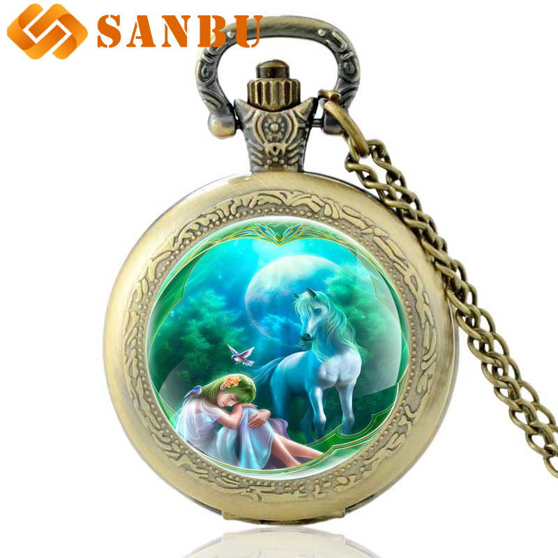 Vintage Unicorn Bronze Quartz Pocket Watch Antique Men Women Necklace Jewelry