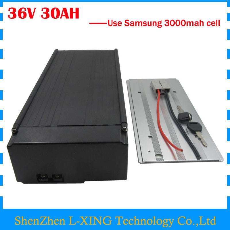 Free customs fee 36V 30AH ebike battery 36V 30AH lithium ion battery pack with tail light use samsung 3000mah cell 30A BMS free shipping rechargeable li ion battery pack 36v 13ah lithium ion bottle dolphin ebike battery 18650 battery pack