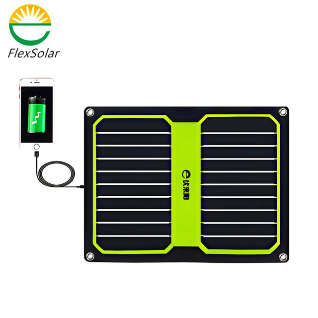 Flexsolar Newest 10.6W 1.9A Portable Solar Cell Power Bank Foldable Powerbank  Solar Panel Charger With Power  Sun Power
