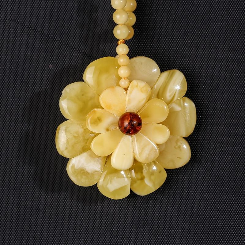 Pendentif de bijoux en cire d'ambre naturel, Mine de la mer baltique mode dames collier bijoux accessoires de fiançailles de bal - 3