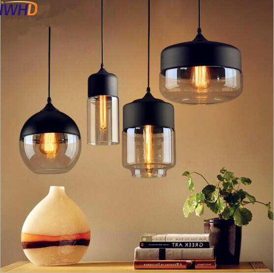 IWHD стекло стиль Лофт Винтаж подвесные светильники бар кофе Эдисон промышленный светильник американский Hanglamp дома освещение