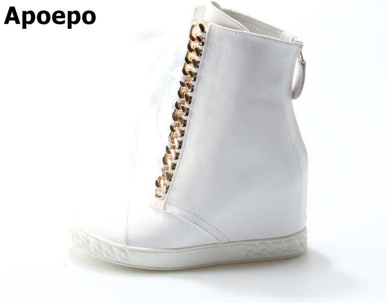 Fashion White Leather Gold Chain Wedge Ankle Boots Lace-up Round Toe Rubber Sole Leisure Shoes Women High Quality Casual Boot whensinger 2017 new women fashion boots genuine leather fashion shoes rubber sole hands sewing 2 color 7126