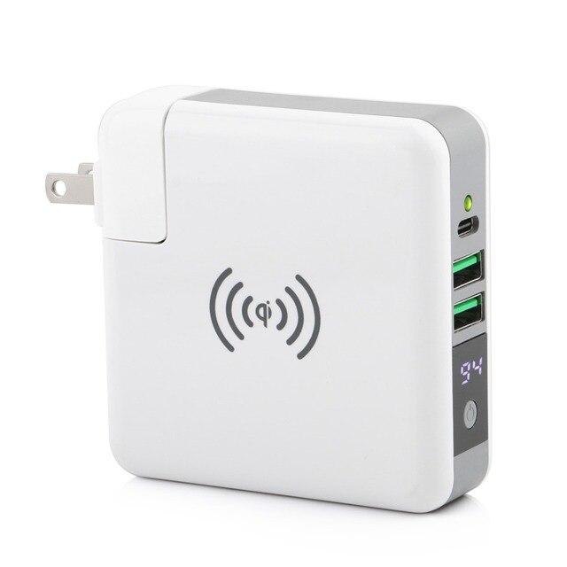 3 ב 1 צ י אלחוטי מטען טעינת סוג C 2 USB נסיעות תקע כוח בנק עם דיגיטלי מסך עבור iPhone 8 Xs Max XR סמסונג VIVO