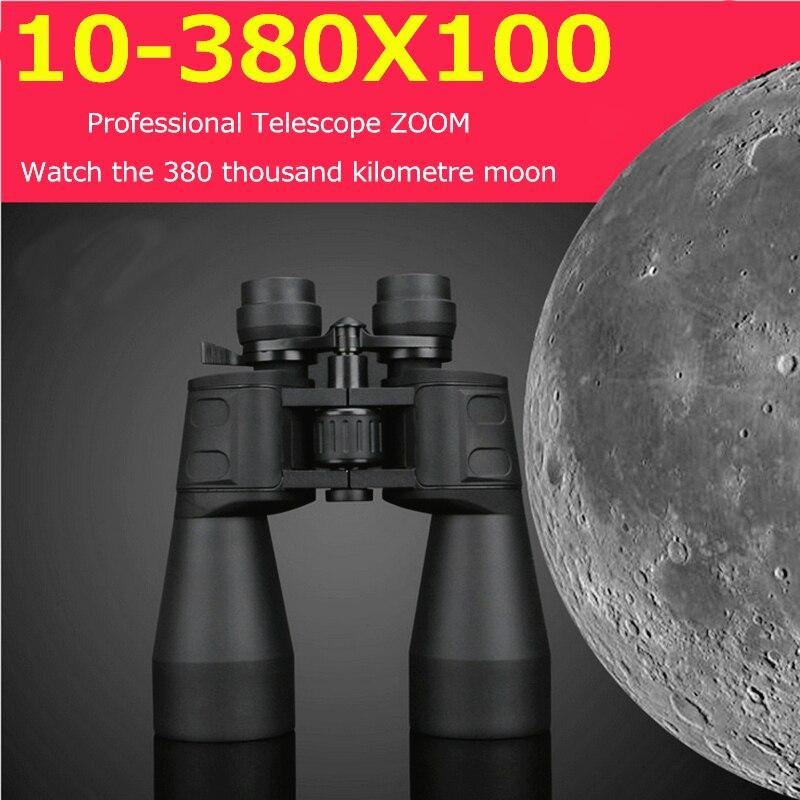 Militaire HD 10-380X100 binoculaire professionnel étanche 10-60 fois chasse Zoom télescope qualité Vision oculaire jumelles