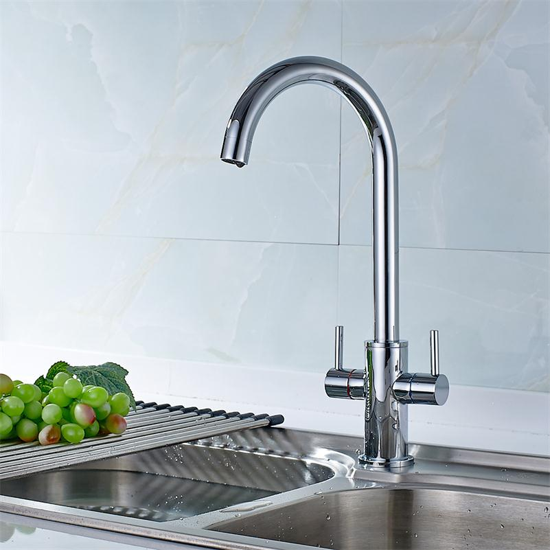Free shipping Dual Handle kitchen Faucet Copper Single Hole Chrome ...