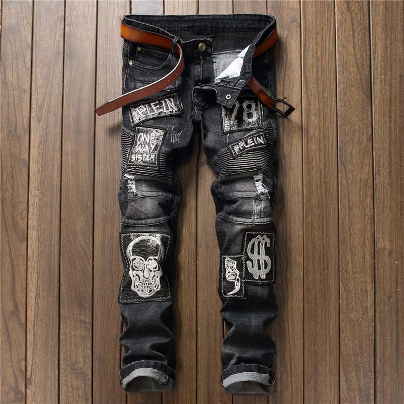 Letter Skull Pattern Mens Jeans Patch Stitching High Quality Mens Trousers Stretch Straight Denim Casual Pants Long Trousers