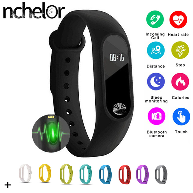 M2 Smart Bracelet Waterproof Wristband Heart Rate Monitor Band Men Women Sleep Fitness Tracker for Android IOS Bluetooth Watch