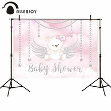 Allenjoy baby shower photographic backgrounds Pink princess bear necklace wings newborn photobooth photocall decoration backdrop(China)