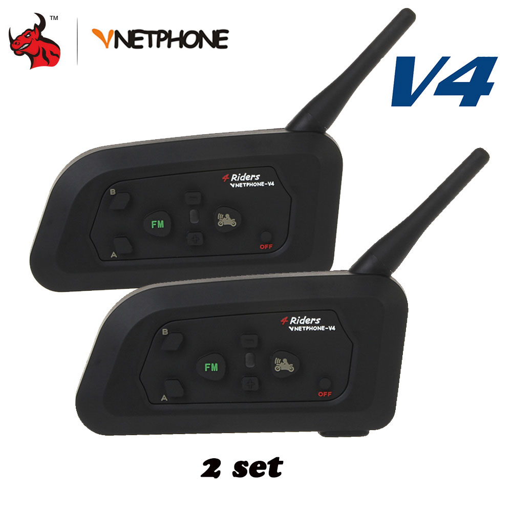 VNETPHONE 1200 m casque de Communication Duplex complet 4 coureurs parlant pour le Football arbitre juge Biker sans fil BT interphone