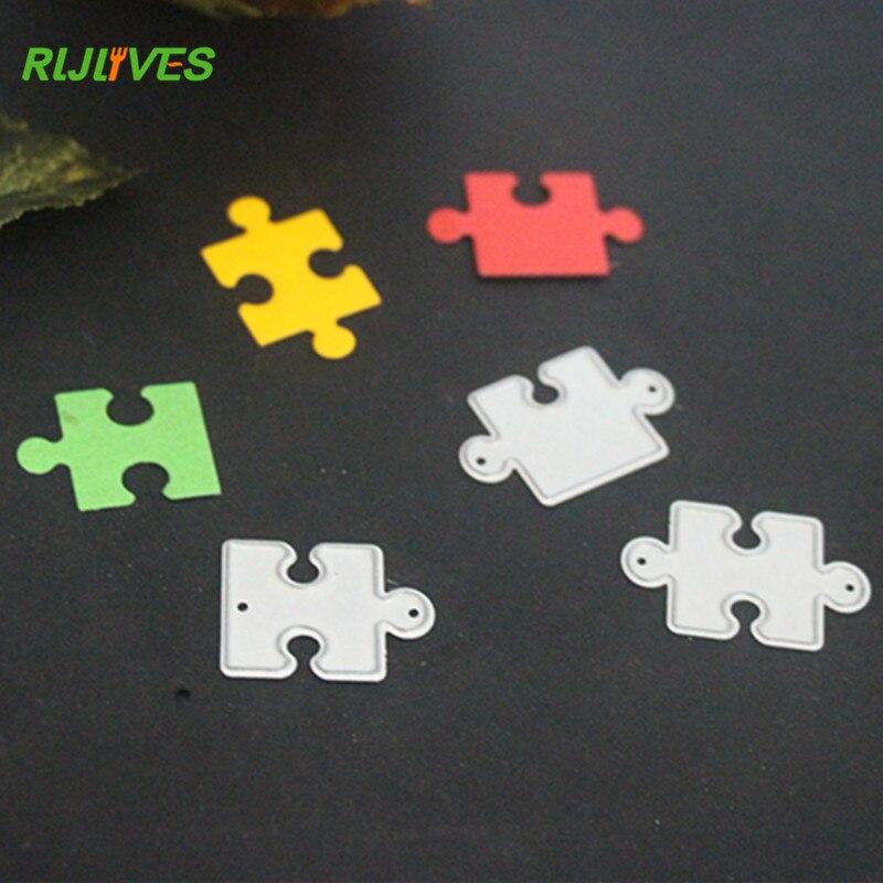 RLJLIVES 3Pcs Metal Cutting Dies Geometric Puzzle Scrapbook Card Album Paper Craft Decorative Embossing Cutter