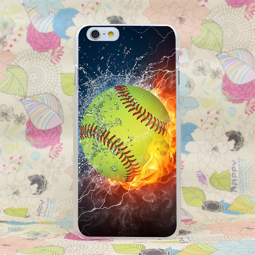 367HJ Fire Yellow Softball And Water Hard Transparent Case Cover For IPhone 4 4s 5 5s SE 5C 6 6s Plus 7