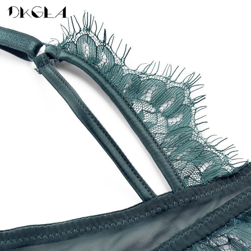 Image 5 - 2019 New Top Push up Bra Panties Sets Lace Lingerie 3/4 Cup Brassiere Green Deep V Sexy Underwear Set Women Bras Cotton Black-in Bra & Brief Sets from Underwear & Sleepwears