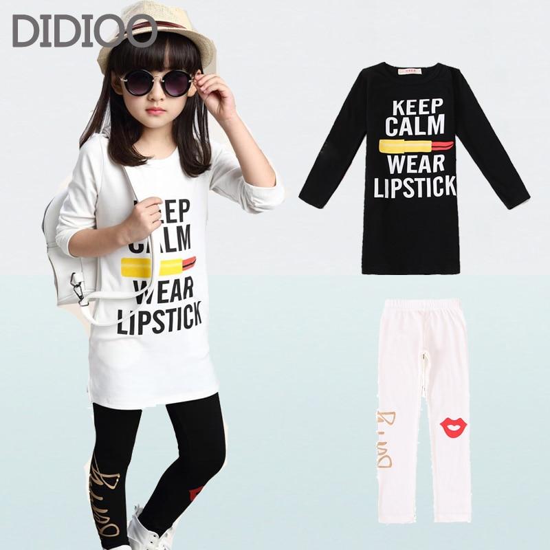 Girls Clothing Sets Fashion Long Sleeve T Shirts Leggings 2 Pcs Tracksuits Casual Kids Sports Suits