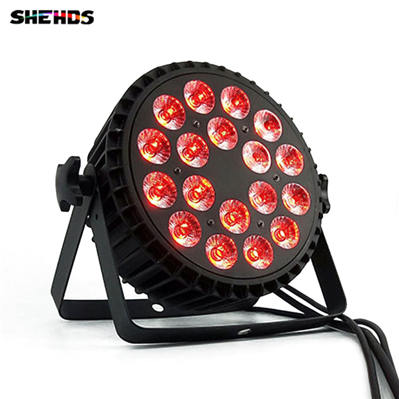 Aluminum Alloy LED Par 18x18W RGBWA+UV 6in1 LED Par Can Sound action Flat Par Light DMX Stage Lights or Party KTV Disco DJ Lamp professional 8x led par 6 18w leds smart dj s4 battery powered wireless dmx wedding uplight light rgbwa uv 6in1 party up lights