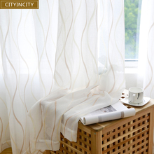 CITYINCITY  JAQ Tulle Waved Curtains For Living room Voile Sheer 3d White Curtain for bedroom Dinning Ready made Customized