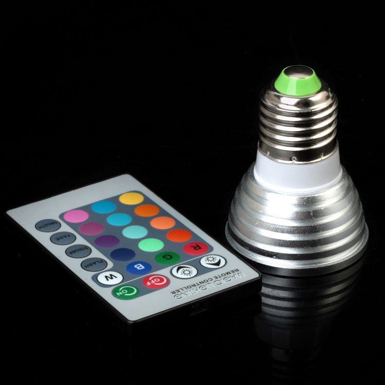 E27 E14 GU10 MR16 RGB LED Spot Lights Magic RGB LED Bulb Lighting With IR Remote Control ...