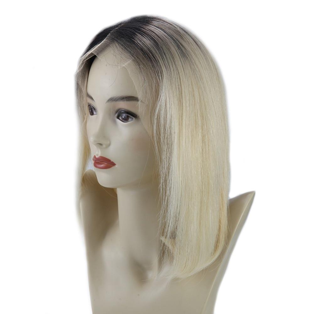 Полный блеск Синтетические волосы на кружеве короткий Боб Искусственные парики Ombre выметания Цвет # 1b с черной выцветанию #613 блондинка Чело...