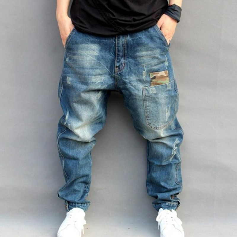 Blue Hole Ripped Baggy Jeans Mens Hip Hop Streetwear Skateboard Denim Pants Men's Camouflage Loose Jeans Plus Size 4XL 102106